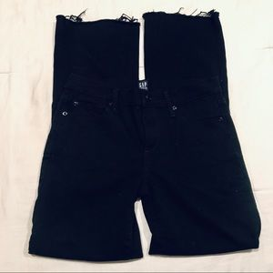 Gap black perfect boot jeans with raw frayed hem